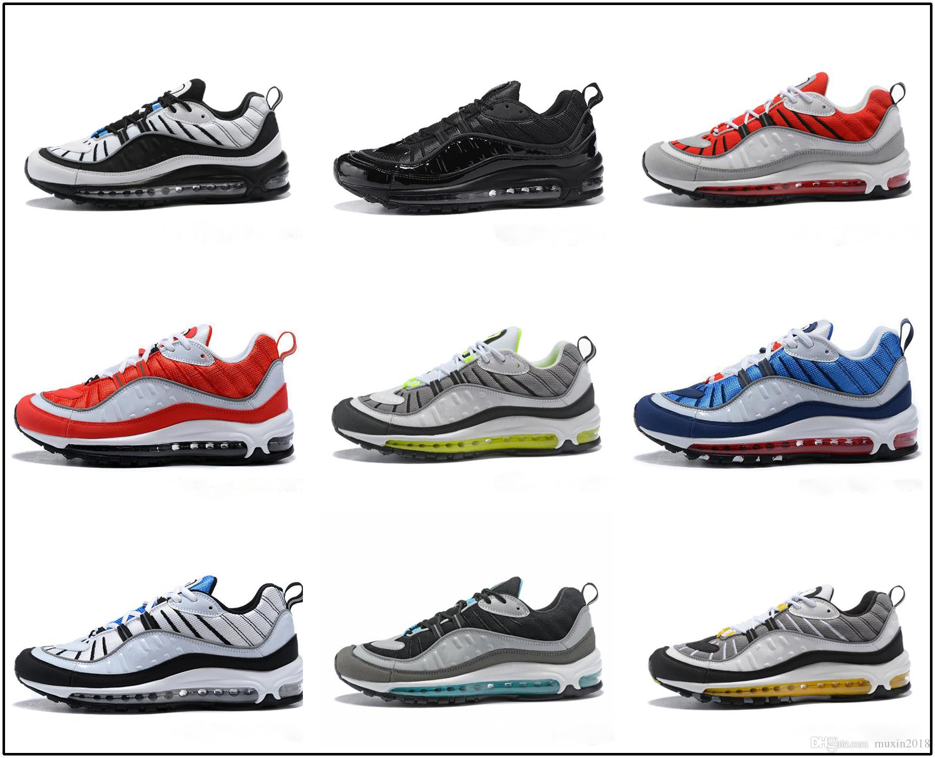 cheap for discount f29db 7e2d6 Acquista Nike Air Max 98 Airmax 2018 New 98 South Beach Scarpe Da Corsa 98s  QS Cone Gundam AOP UK GMT Triple Nero Bianco Trainer Sport Outdoor Sneakers  ...