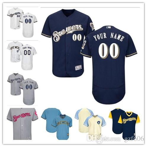 6c45eba88 2019 Custom Men S Women Youth Majestic Milwaukee Brewers Jersey Personalized  Name And Number Blue Grey White Kids Girls Baseball Jerseys From Gzf606