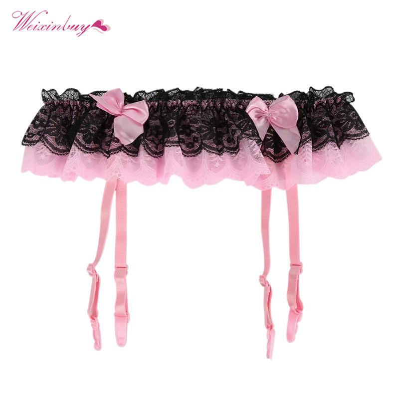 1d12f9697f3 2019 Women Thongs Lace Stocking Suspender G String Hold Stocking Garter  Belts Sexy Lingeries Dual Layer Garter From Maoku