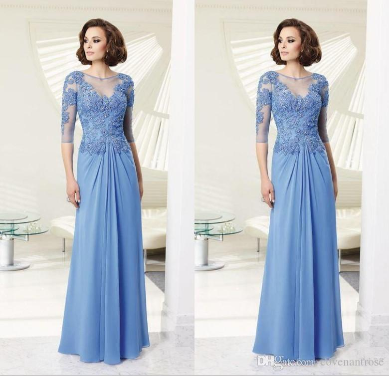 Modest Dusty Blue Mother Of Bride Dresses 3 4 Long Sleeve Lace