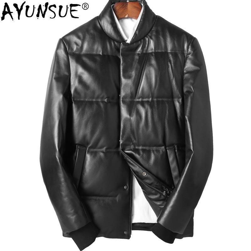 innovative design 43252 a55b7 AYUNSUE Genuine Real Leather Jacket Men Sheepskin Coats Winter Duck Down  Jacket Canada Style Parka Giacca Pelle Uomo ZL832