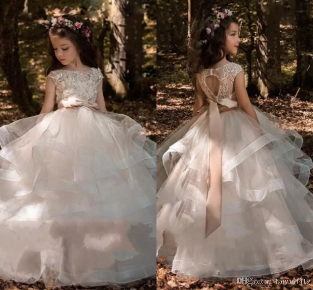 2018 Tiered Ruffles Organza Ball Gowns Girls Pageant Dresses Sash ...