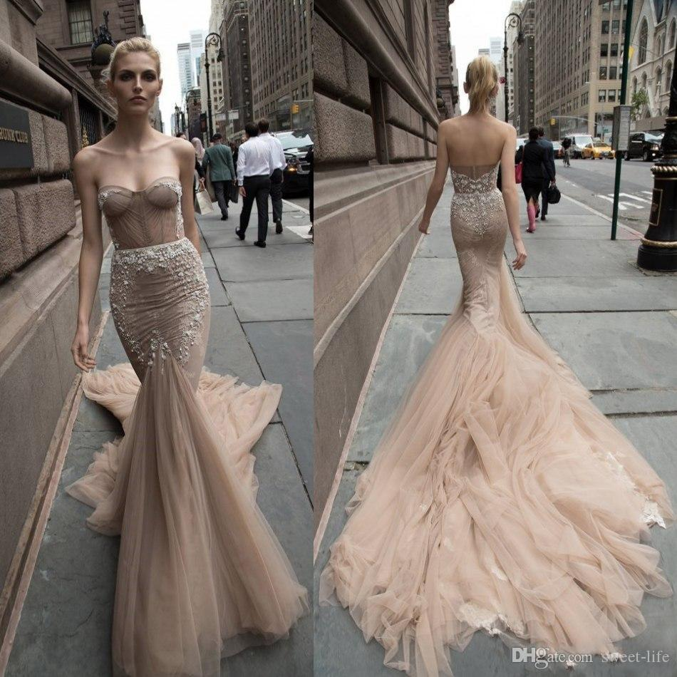 b8f44a49d2c0 2018 Inbal Dror Mermaid Lace Wedding Dresses Sweetheart Applique Backless  Trumpet Bridal Gowns Beach Vintage Court Train Bridal Gowns Bridal Gowns  With ...