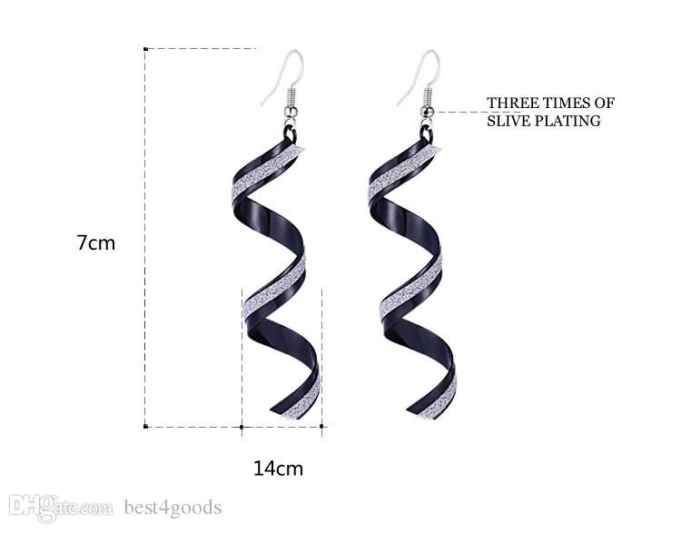 Fashion Punk Women Twist Spiral Earring Lady Girl Dangle Earrings Charm Jewelry Valentine's Day Gift Silver Gold Black