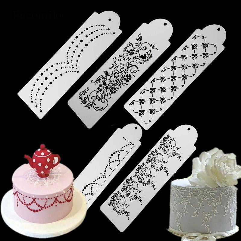 2018 Bakeware Pastry Tools Lace Stencil Cake Side Template Border Decorating Indian From Tinaya 331