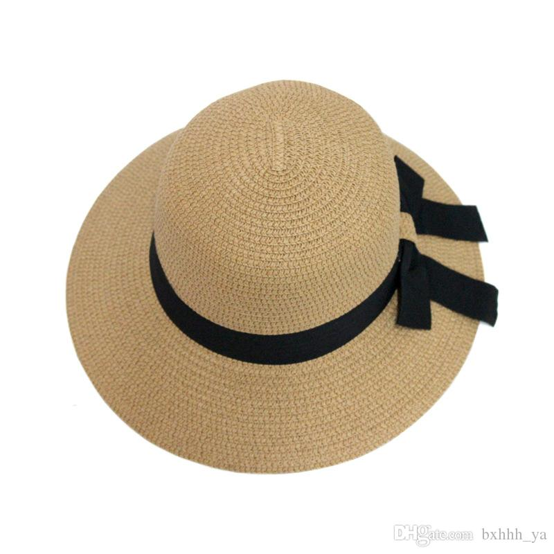 3c907781c7a43 2018 Hot New Fashion Summer Casual Women Ladies Wide Brim Beach Sun Hat  Elegant Straw Floppy Bohemia Cap For Women Dating Cheap Scala Hats  Wholesale Hats ...