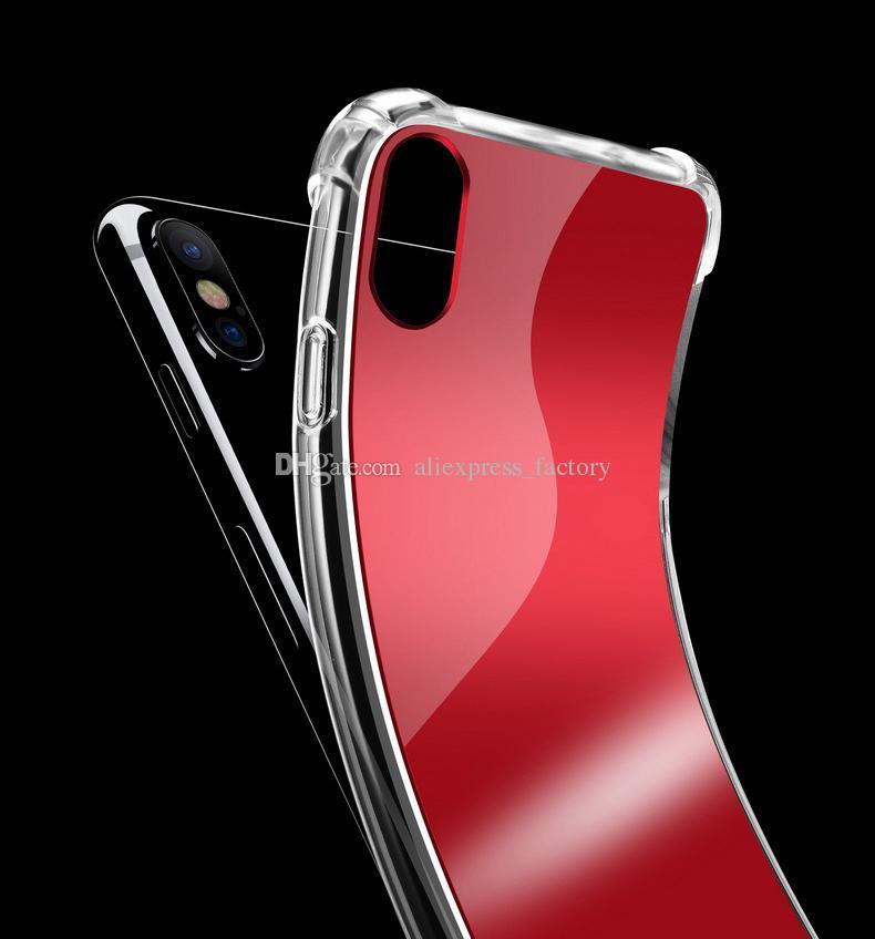 Luxe spiegel luchtkussen weerspiegelen girly schattige anti shock zachte TPU bumper + acryl back harde case cover voor iphone xs max xr x 8 plus 7 6 6 s