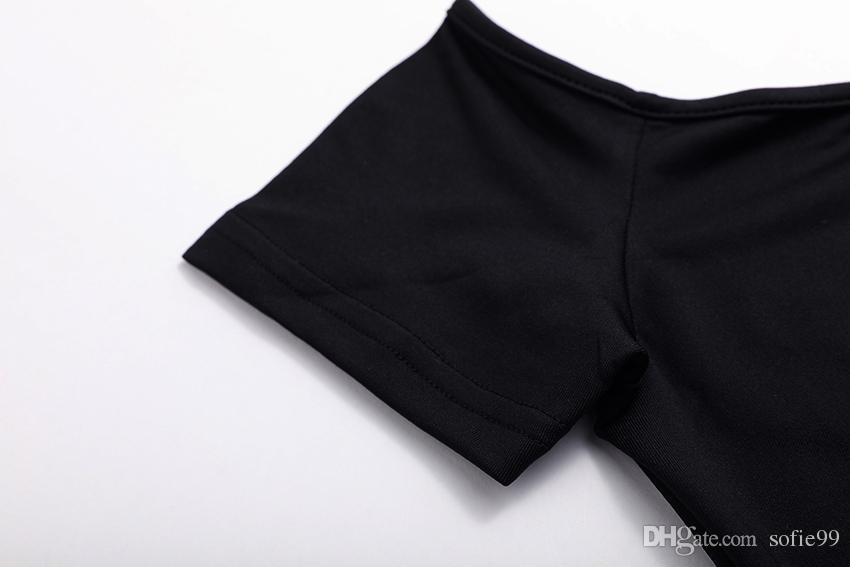 Kapalı Omuz Pamuk Örme Kısa T Gömlek Kadın Straplez Üst Siyah Beyaz Yaz Mahsul Tops Elastik Tees Slash Boyun T-shirt