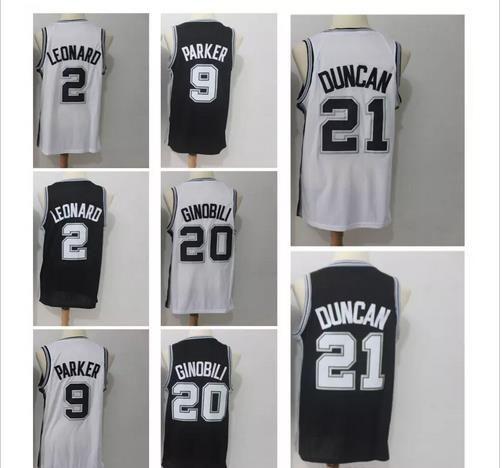 21 Tim Duncan 2 Kawhi Leonard 9 Tony Parker 20 Manu Ginobili Men s  Basketball Jerseys 2018 Season Fan Version Jersey Men Polo Shirt Duncan Jersey  Leonard ... 4f482a4be
