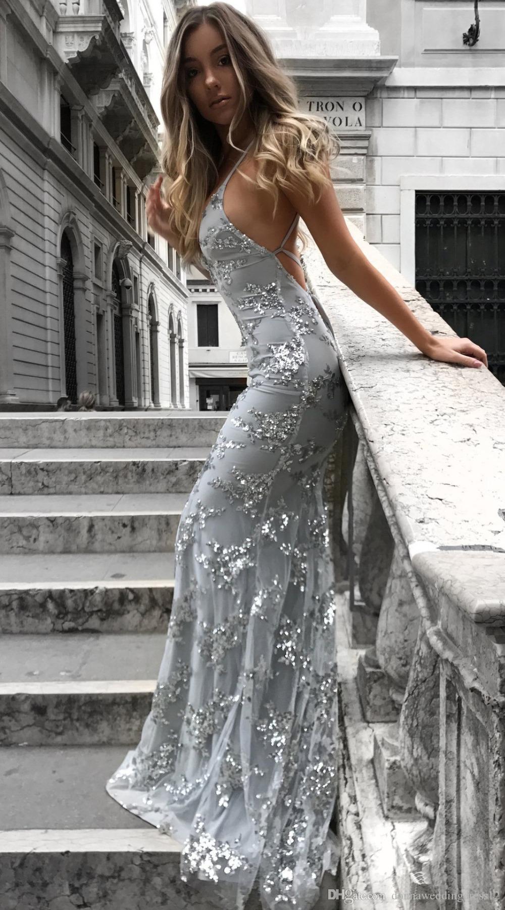 2018 Sexy Graceful col en V Spahetti bretelles Paillettes sirène longue robe de bal d'argent Backless Robes de soirée Femme Party Maxi Dress pas cher