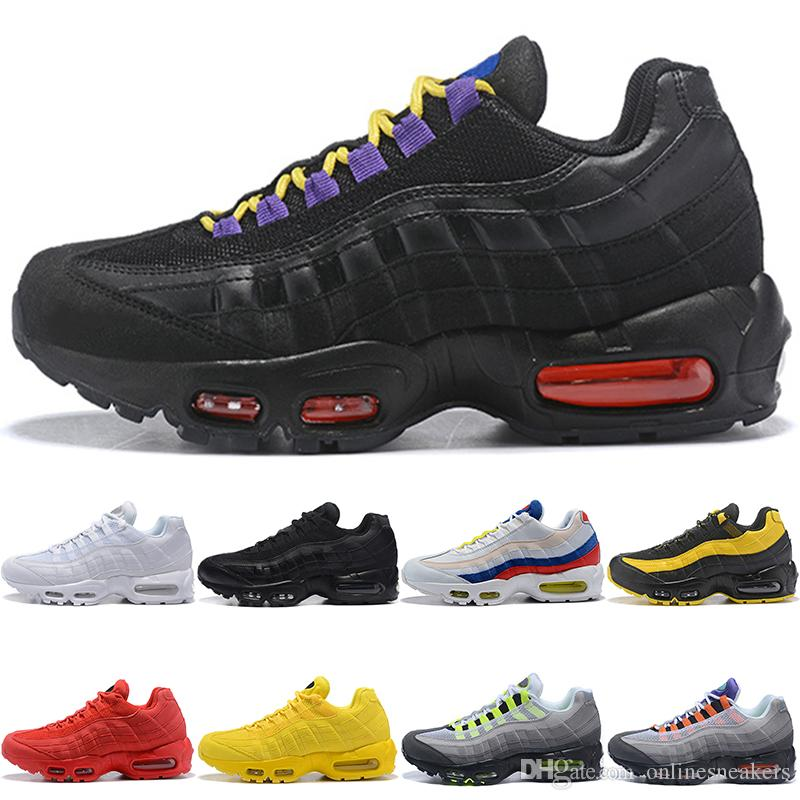 new product 0ebc1 6c28c Nike Air Max 95 Airmax 95 Hombres Mujeres Zapatos De Correr Frecuencia  Triple Negro Blanco SE Amarillo ERDL Party OG Neon Grape Athletic Sport  Sneaker ...
