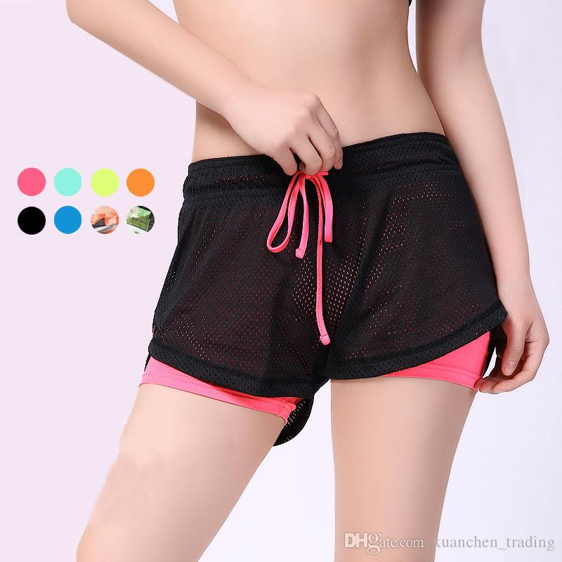 Women Sport Fitness Yoga Shorts 2 In 1 Compression Women Athletic Shorts  Cool Ladies Mesh Sport Running Short Fitness Clothes Jogging UK 2019 From  ... 9d4d24601f