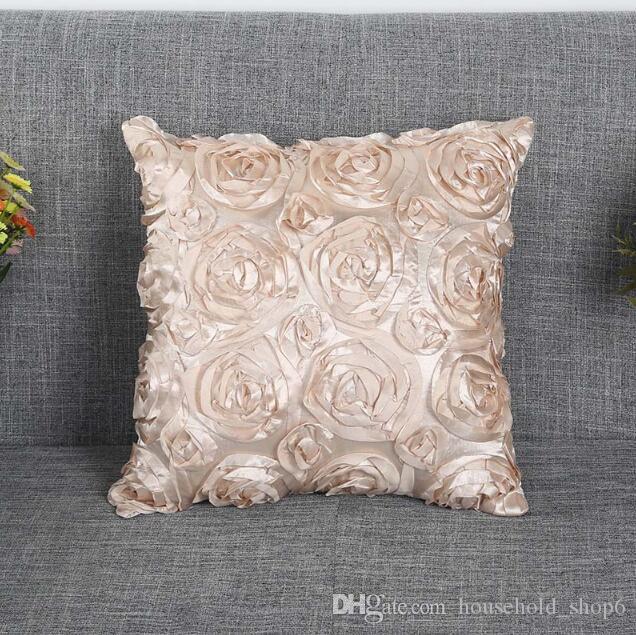 42 * 42 cm 장미 꽃 자수 쿠션 커버 8 색 홈 인테리어 베개 케이스없이 내부 소파 결혼식 베개 커버 던져