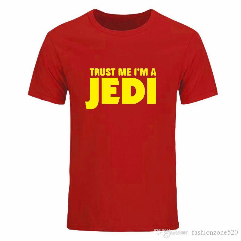 Sommer-Mode VERTRAUEN SIE MIR, DAS ICH EIN JEDI-T-Shirt für Männer O Hals-Kurzschluss-Hülsen-BaumwollHip-Hop bin, der T-Shirt DIY-0295D gedruckt wird