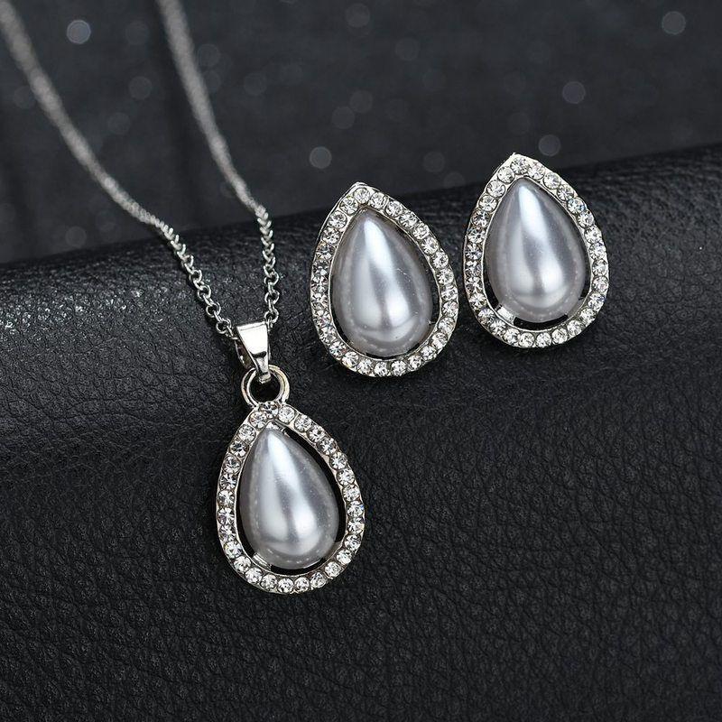 f1292a726535 Moda mujer gota de agua en forma de lágrima de la perla de imitación  colgante collar Stud pendientes Lady boda compromiso conjunto de joyas