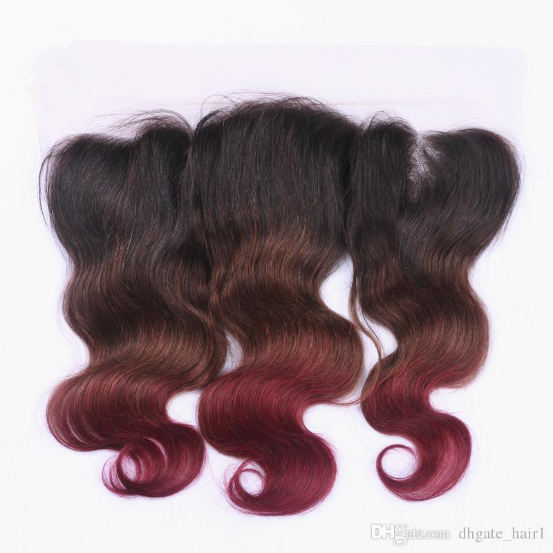 Onda do corpo # 1B / 4 / 99J Três Tons Ombre Peruano Feixes de Cabelo Humano com 13x4 Cheia Do Laço Frontal Fechamento Nurgundy Ombre Virgem cabelo Tece