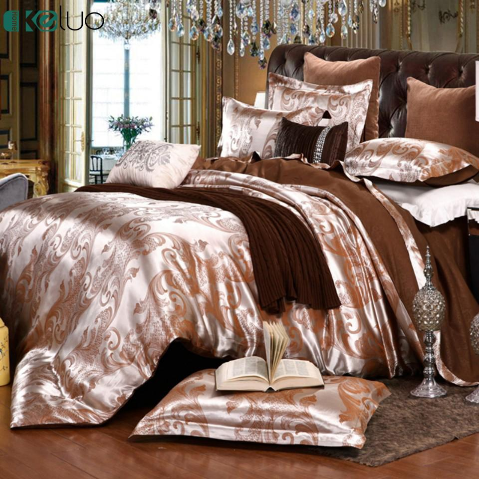 Keluo wedding luxury bedding sets jacquard queen king size duvet cover set wedding camel bedclothes bed linen bed sheet bedding comforter set comforters and