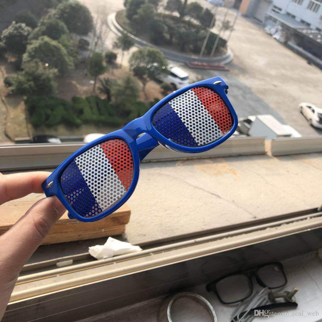 2018 mundo pinhole óculos bandeira nacional óculos de sol de futebol bola de futebol óculos de armação de plástico e lente