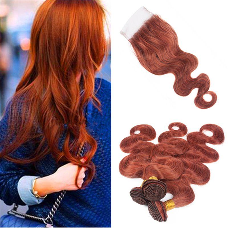Pure Color 33 Dark Auburn Brazilian Hair Bundles With Lace Closure