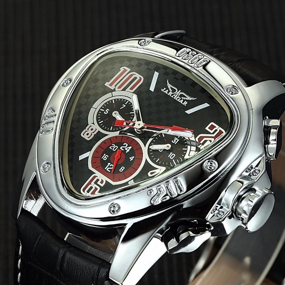 JARAGAR Luxury Triangle Dial Mens Mechanical Watches Auto Date 24 Hour Display Automatic Mechanical Self Wind Clock Male Relogio Y1892103