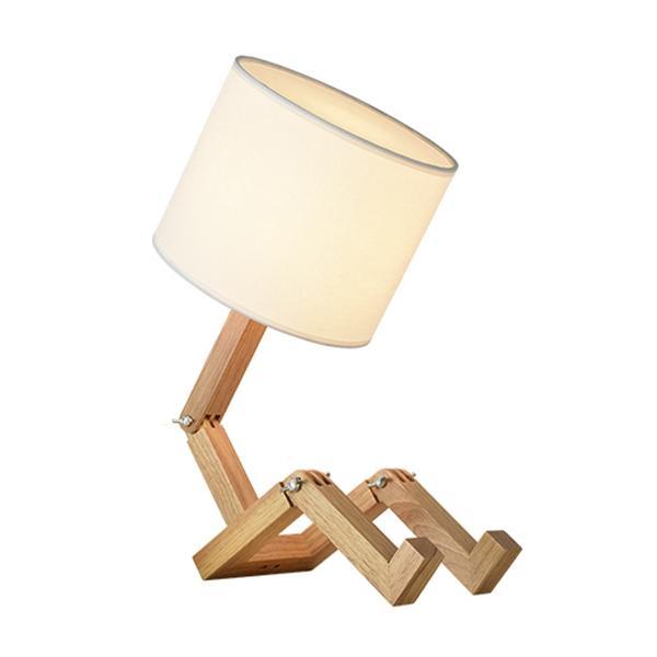 Lampe V Forme Wish Benchtop De Robot Bois Led 220 Intérieur Plug Phare Mignon Recherche Éclairage Moderne Us En Bureau EI29WDH