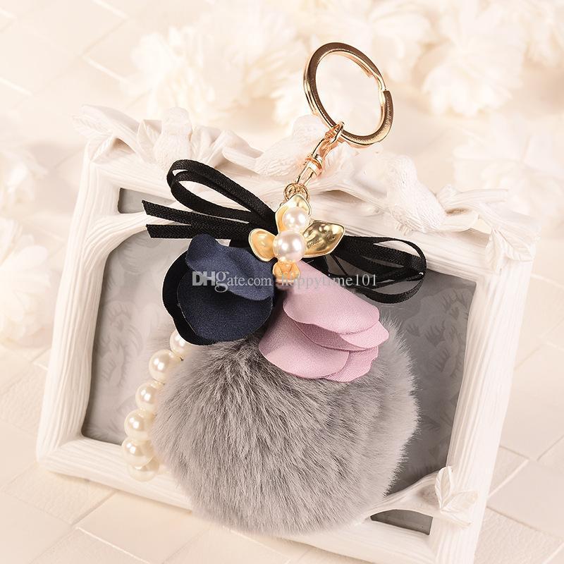 Rabbit Fur Ball Plush Keychain Round Ball Cloth Art Flowers Pearl Strip Metal Keychain Keyring Car Keychains Purse Charms Handbag Pendant