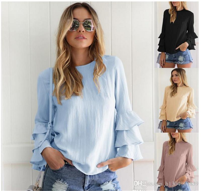 88b176523b1 2019 Home≫ Apparel≫ Women S Clothing≫ Women S Blouses   Shirts≫ Product  Detail Women Blouses New Fashion Long Sleeve Tops Womens Clothes Tops E  From ...