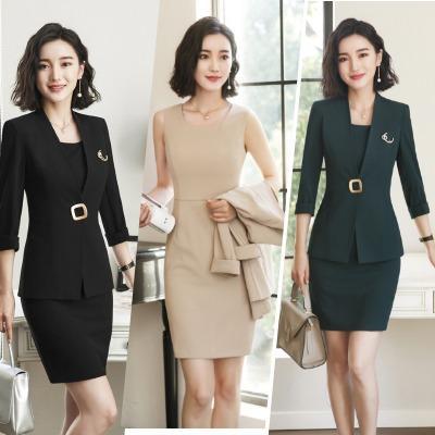 Compre Las Mujeres Del Vestido De La Chaqueta Fijaron Dos Pedazos Del Traje  De Las Señoras De La Oficina Delgadas Sólidas Abrigo Formal De La Chaqueta  + O ... 51670e34ad80