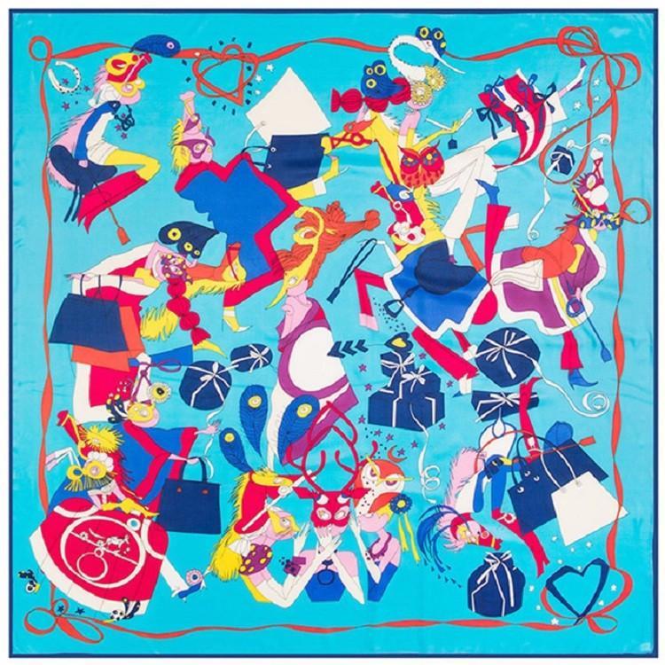 Nouveau Twill Foulard En Soie Femmes de Bande Dessinée Impression Carré Foulards De Mode Wrap Femme Foulard Grand Hijab Châle foulard 130 * 130 CM