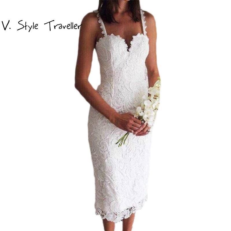 58ad27dbc Compre Estilo Del Verano Blanco Vestido De Encaje Negro V Cami Bodycon Ropa  Barata Atractiva China Vestidos De Fiesta Mujer Oficina Casual Vestidos  Midi ...
