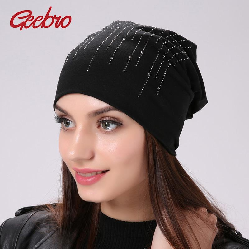 Geebro Brand Women s Beanie Hat Casual Cotton Beanies Shine Sequins Pattern  Hat For Women Hats Rhinestone Cap GC299 Baseball Cap Slouchy Beanie From  Xiacao 53d83789941