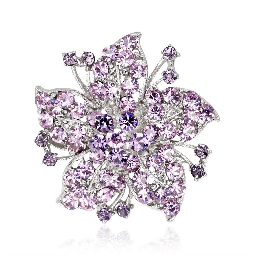 European and American Retro Flower Alloy Diamond Brooch Clothing Crystal Rhinestone Pin Fashion High-end Creative Women's Jewelry
