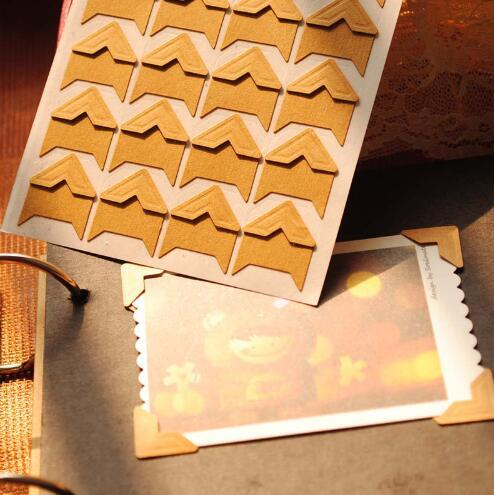 Diy Vintage Corner Kraft Paper Stickers For Photo Albums Frame