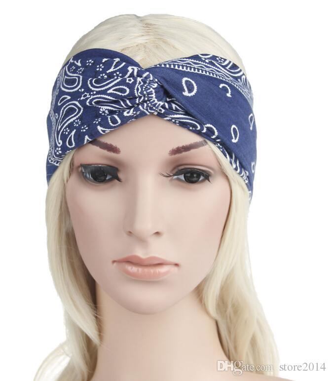 Paisley Design elegante croce sciarpa testa fascia le donne Moda Bohemia fasce capelli ragazza retro stampa turbante Headwraps regali