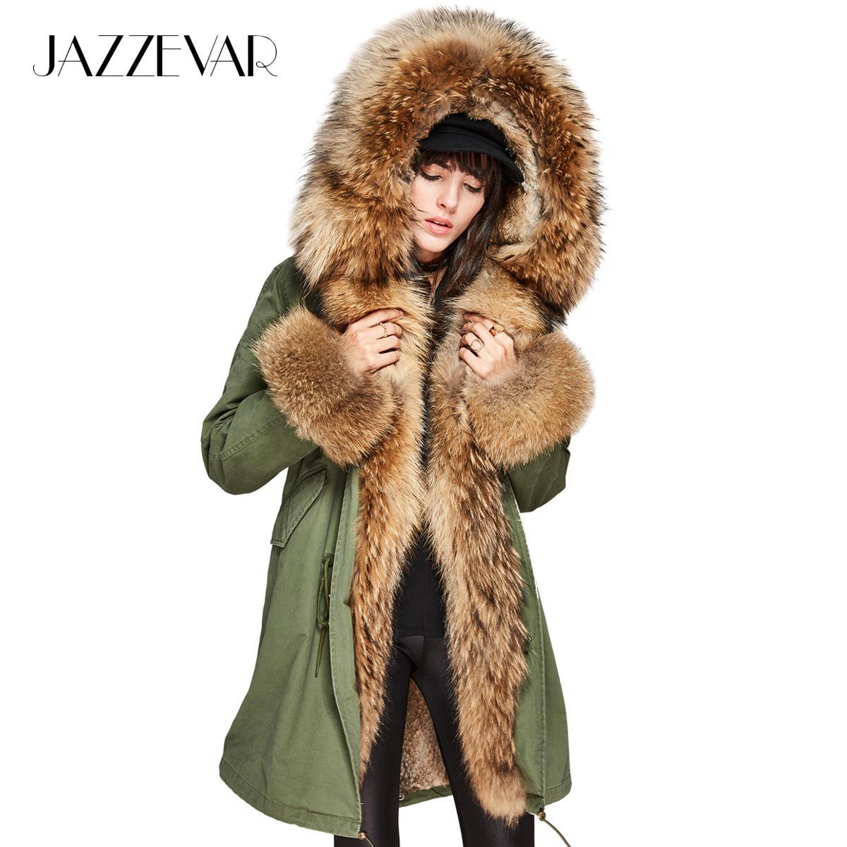 Acquista JAZZEVAR Luxury Large Large Pelliccia Di Procione Collo Di  Pelliccia Con Cappuccio Cappotto Staccabile Fodera Di Coniglio Parka  Outwear Lungo ... b544438cf154