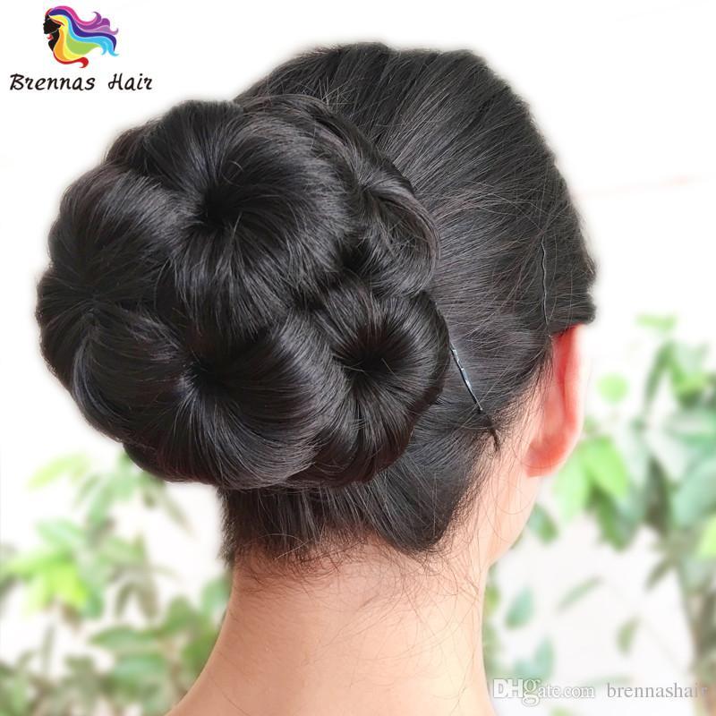 Cheap Bride Hair chignon Buns Donut Roller Hair Bun Extension Hairpieces 10*6CM Clip-in Jumbo Braids Synthetic hair chignon Bun High-quality
