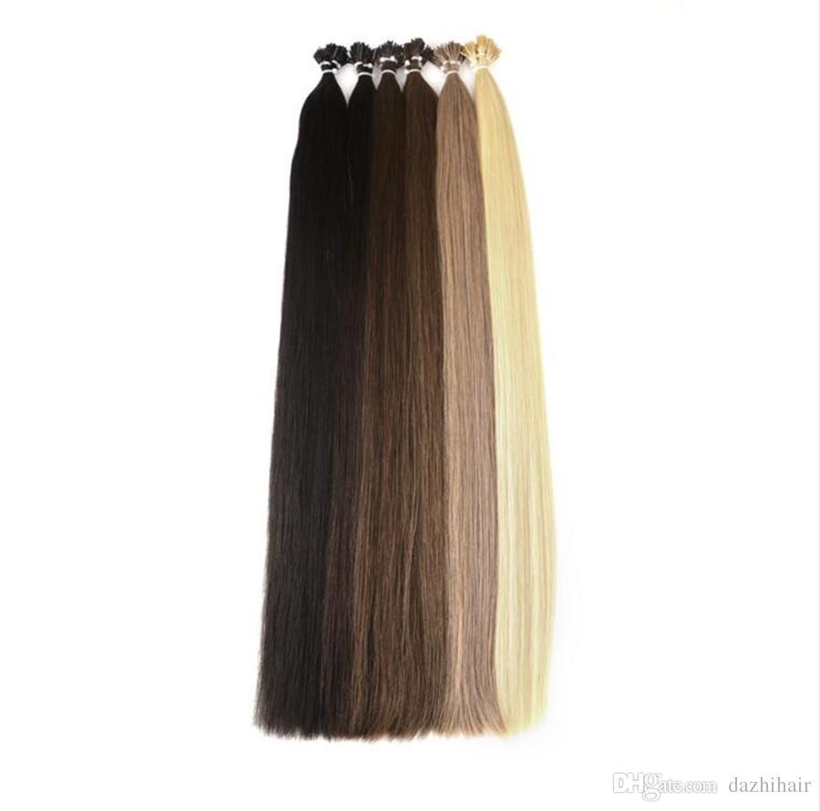 Dark Color Straight Human Pre Bonded Hair I Tip Stick Keratin Double