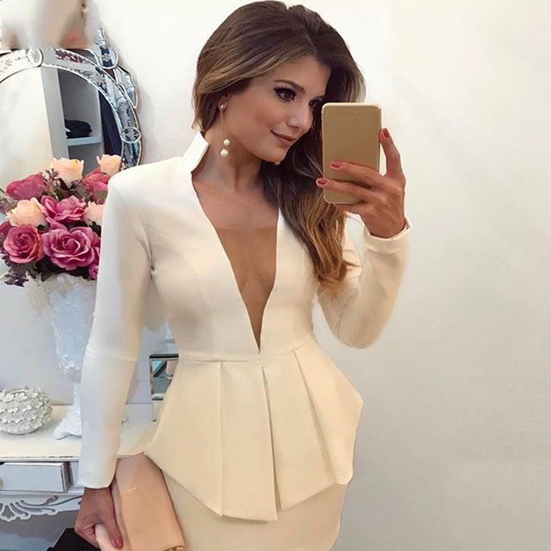 df3d9ce4e3 Compre Sexy Deep V Office Blazer Vestido De Mujer 2018 Primavera Verano  Elegante Estiramiento Formal Vestido Blanco Trabajo Bodycon Overol Mini  Vestidos ...