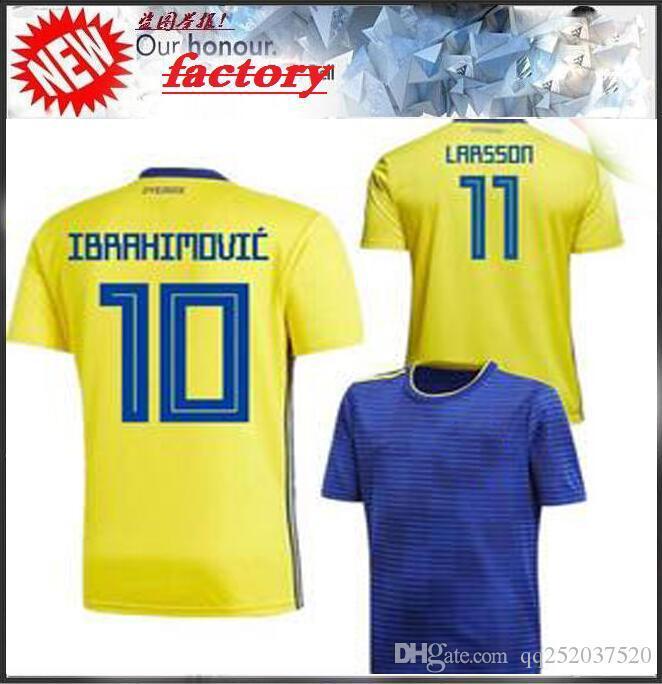 32cb441f219 2018 World Cup Sweden Soccer Jersey IBRAHIMOVIC KALLSTROM LARSSON Football  Jerseys National Team TOIVONEN MARCUS BERG Home Away Mens Shirts Sweden  Soccer ...