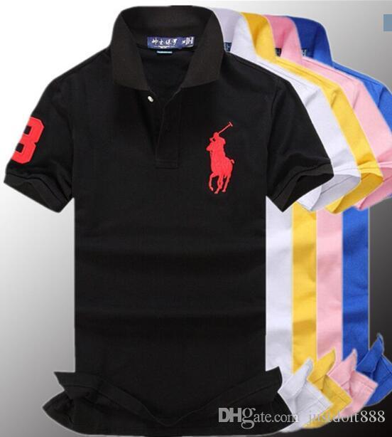 Compre Hot Luxury 2018 Camisa Pólo Dos Homens Big Horse Camisa Sólida Manga  Curta Verão Casual Camisas Polo Mens Frete Grátis De Justdoit888 bd03eadab3921