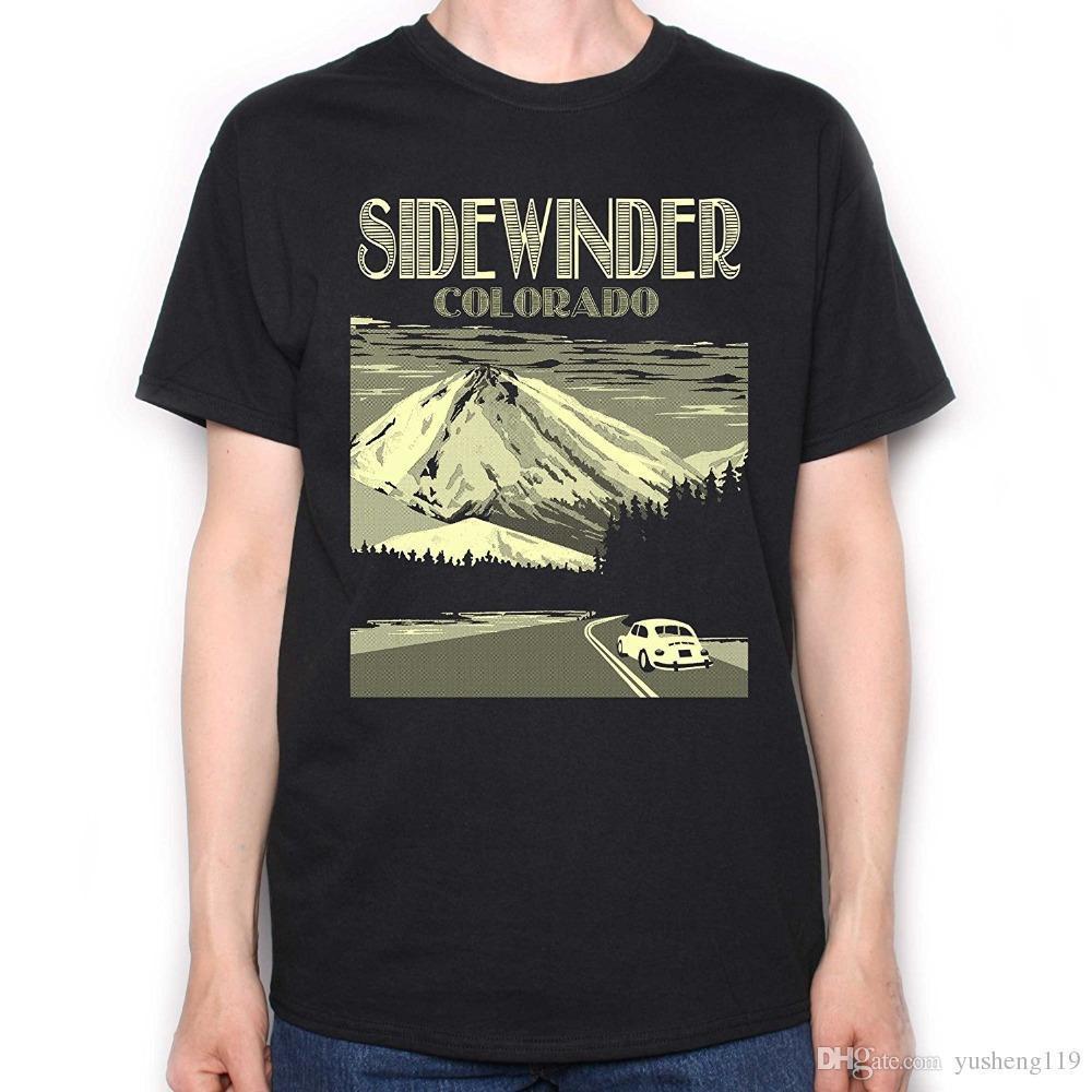 Custom T Shirt Design Short Sleeve Printing Machine Crew Neck Mens Movie  T-Shirt Sidewinder Colorado Travel Poster Black T Shirt