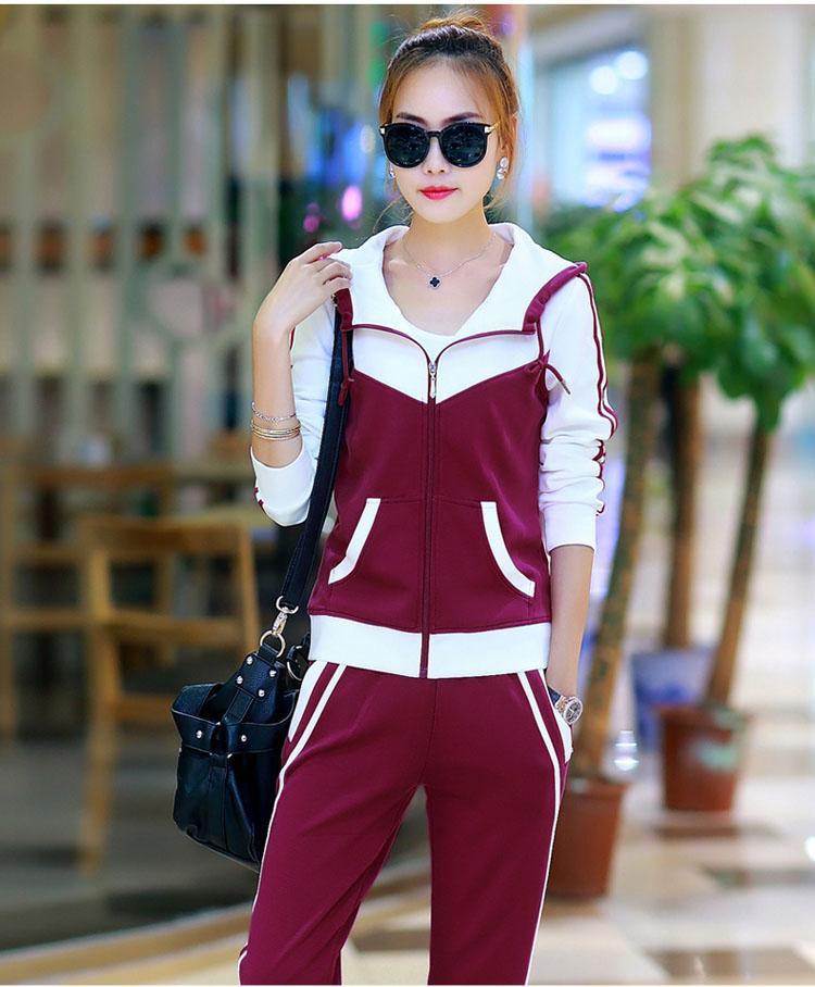 RLYAEIZ Hot New Casual Set Women Sporting Suit 2017 Spring Autumn Patchwork Hooded Hoodies + Pants Female Tracksuit XXXL
