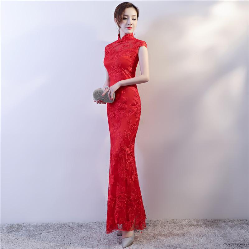 c07bef32f Compre Vestido De Novia Chino Para Mujer Encaje Cola De Pez Vestido De Novia  Rojo Largo Cheongsam Para Fiesta Por La Noche Señora Vintga Chino Qipao A  ...