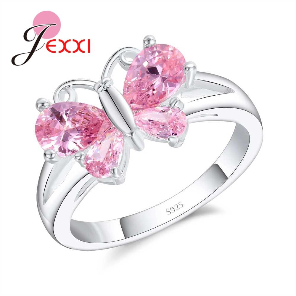 JEXXI Lovely Butterfly 925 Sliver Rings For Women Wholesale Pink ...