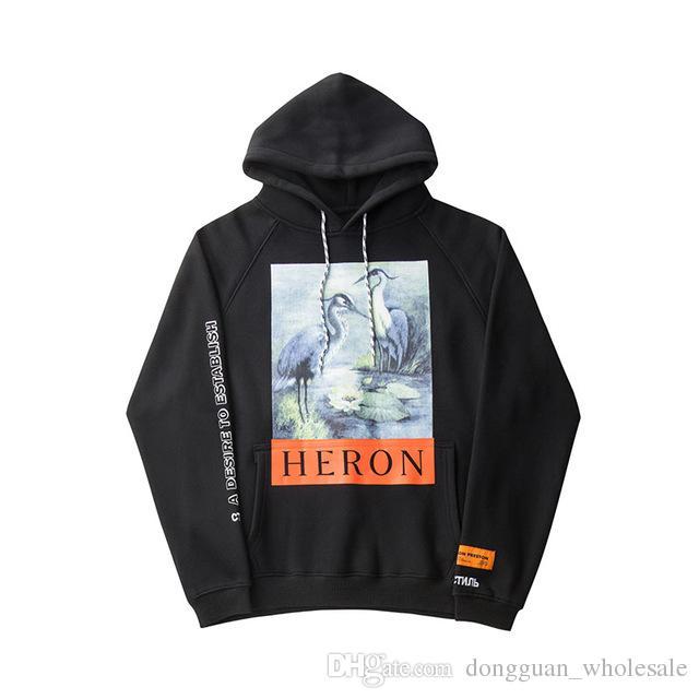 fbb6086266438c 2019 Crane Print Sweatshirts Men Women Hip Hop Heron Preston Hoodies  Pullovers Streetwear Black Heron Preston Sweatshirts 2018 From  Dongguan wholesale