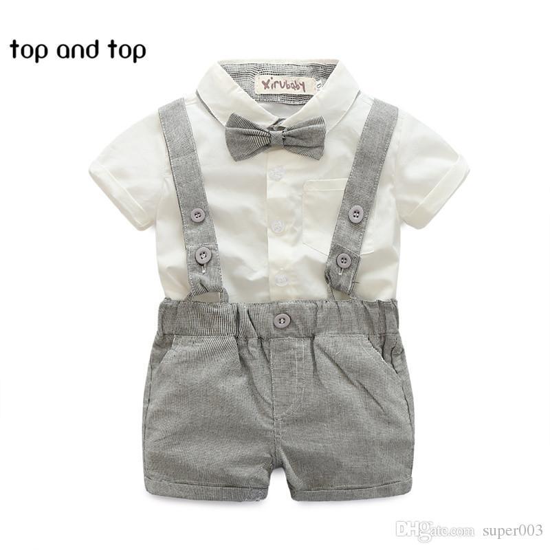 8c29980b275 2019 2018 Summer Style Baby Boy Clothing Set Newborn Infant Clothing Short  Sleeve T Shirt + Suspender Gentleman Suit From Super003