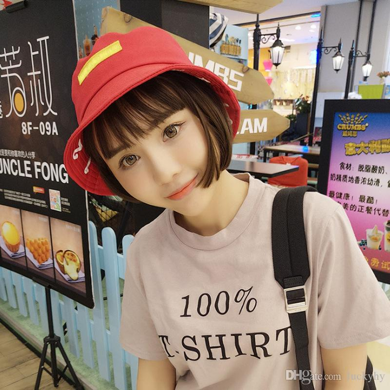 2019 Korean Version Of The New Poster Cloth Upturned Eaves Smiling Fishermans Hat Women Sun Shade Hat Summer Pure Color Graffiti Basin Hat Tide From