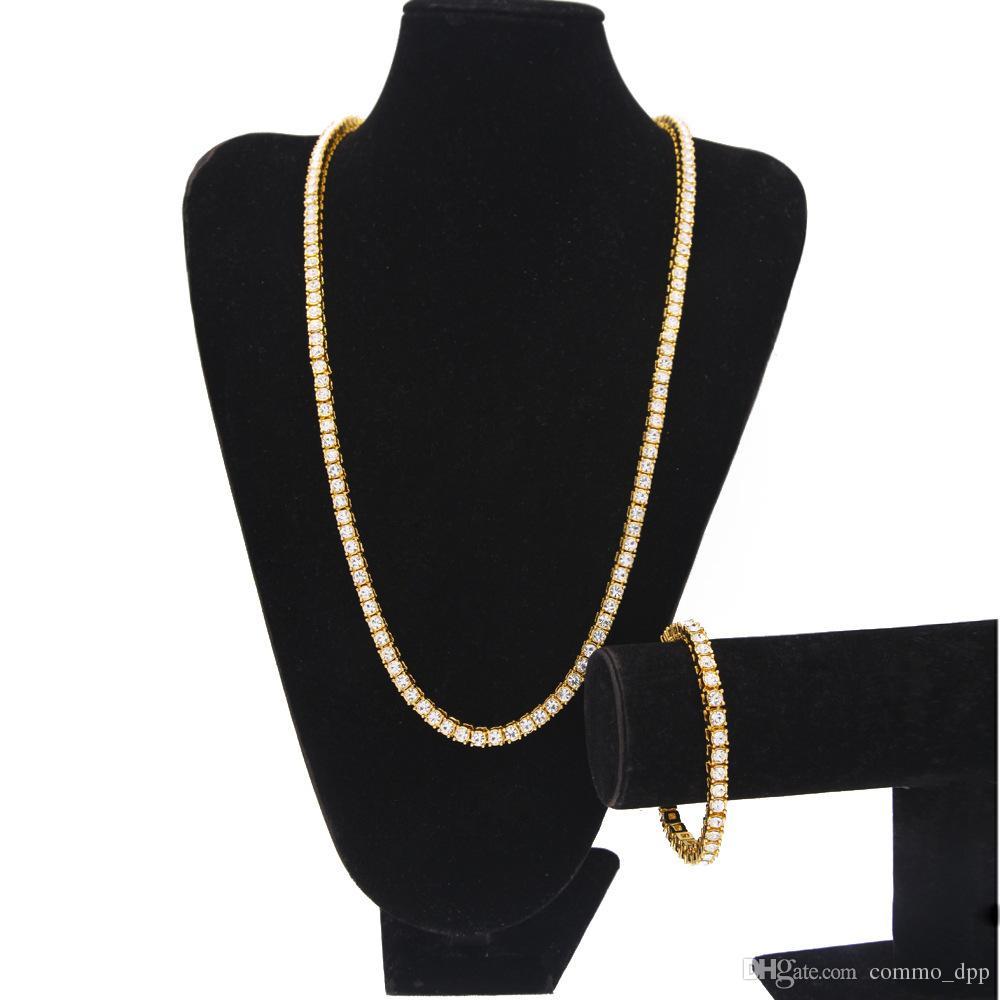 Venda quente Iced Out 1 Linha de strass cadeias conjuntos de jóias dos homens Bling Limpar Simulado pulseira de Diamante colar conjunto Para masculino Hip hop Jóias
