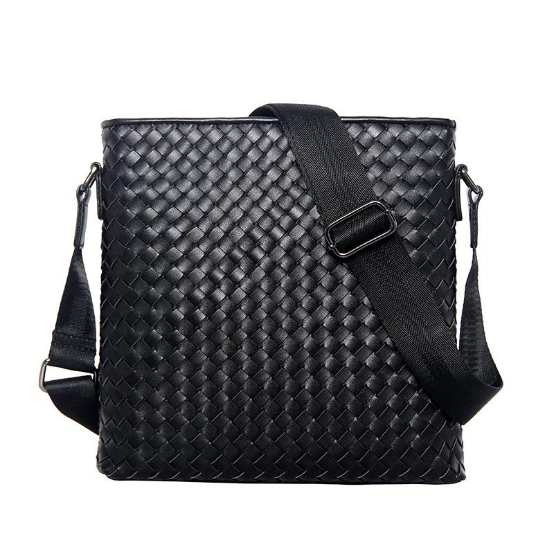 8d0c002a7f83 Men S Business Shoulder Bag Men  S Classic Cowhide Genuine Leather Woven Bag  Vertical Section Shoulder Messenger Business Br Mens Bags Satchels From ...