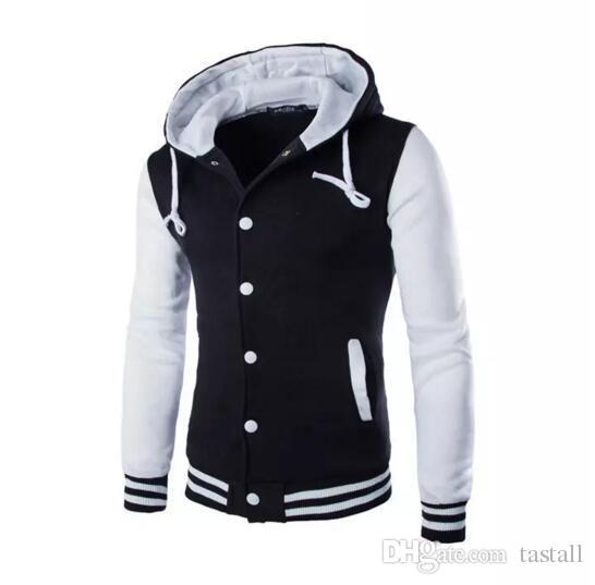 c6cbee599c4 New Hooded Baseball Jacket Men Winter Autumn Fashion Design Black ...